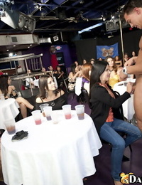 Stunning honies are into hot hookup soiree with male strippers in the club
