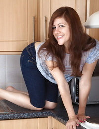 Kitchen maid Lacey globs her taut jeans and vagina\'s her S/M cooter