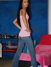 Youthfull latina honey Marissa denudes her slim body in a massage parlor
