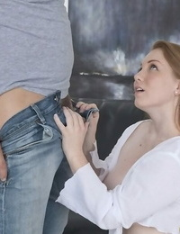 Buxomy redhead Bre Pheonix blows her men fat cock after seducing him