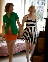 Youthfull dykes Noa and Gretchen getting clothed after torrid lesbian sex