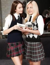 Teenager schoolgirl Vania kisses and taunts her lezzie girlfriend Sweet Lana
