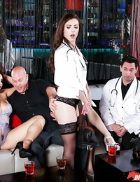 Euro pornographic stars pound doctor and pal during groupsex for cumshot on hands