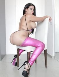 Passionate Latina Kesha Ortega releasing big booty from metallic mauve pants