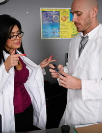 Nasty spit-filled Dr. Eva Angelina seduces a fellow doctor in the lab