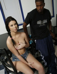 Cute college lady Brooklyn Rose bitchy by captured boyfriend in front of stepdad