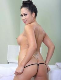 Busty asian Mummy Kayme Kai getting naked and rubbing herself