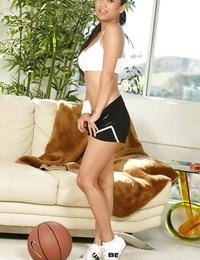 Puny asian stunner Kina Kai stripping and stretching her slim gams