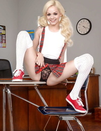 Teenager babe Elsa Jean making pornstar debut in schoolgirl uniform and socks