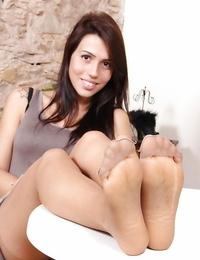 Stockings adorned babe Petra masturbation upskirt views and nude soles