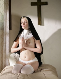 Youthfull nun goes topless and plunges hr tongue out to a priest to atone her sins
