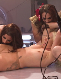 Ultra-kinky chicks from the future shock each other while going knuckle deep pussies