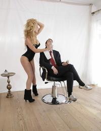 Redhead Lily Cade munches beaver of cute blonde hairdresser Kayden Kross
