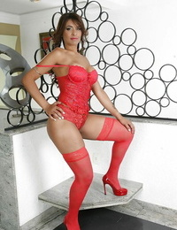 Juggy latina with voiced nuts and nylon clothed gams getting rid of her lingerie