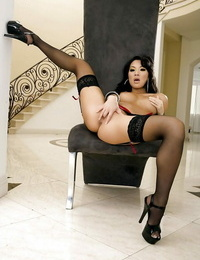 Smoking scorching asian honey in stockings Asa Akira gliding off her underwear