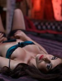 Girl-drool hot stunner Megan Coxxx posing in lingerie on the bed
