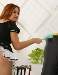 Good redhead maid entices her blonde chief into girl on girl watersports
