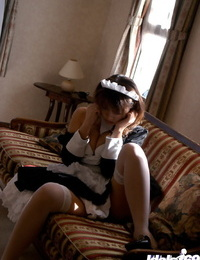 Mouthy asian maid revealing her puny boobs and sexy fanny