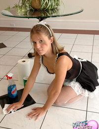 Horny brunette compels maid to undress for inexperienced lesbian fun in the foyer