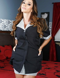 Sexy maid Ariella Ferrera undresses her unifrom and tempts everyone