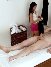 Asian masseuse Pussykat is big-boobed her customers trimmed dick