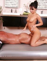 Ravishing asian vixen gives a brilliant erotic massage with a blowjob