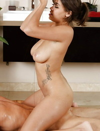 Buxomy Asian babe Cassidy Banks delivering a spectacular nuru massage