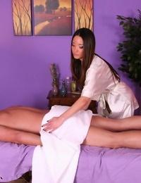 Stunning Asian massagist Miko Sinz disrobing for happy ending finale