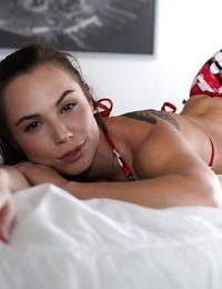 Stunning small dickblowers Aidra Fox demonstrating off her tiny boobs
