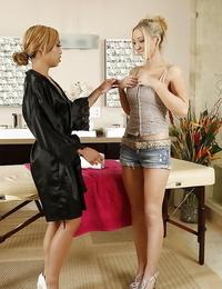 Asian lesbian Angel Ashton is tempting her D/s Babe Milani