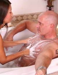 Asian massage provider Beti Hana takes tub with playful chisel