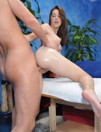 Juicy teenager brunette with yanks hooters gets banged after massage