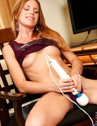 Smiley mature vixen undressing and vibrating her thirsty fuckbox