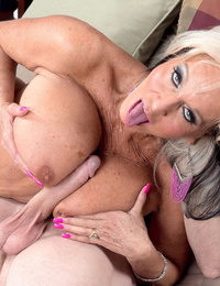 Older swinger Sally DAngelo plows a thick dick until her puss sports a creampie