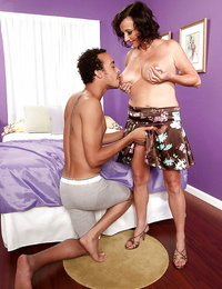 Mature deep-throaters lady gets her pointy hooters sucked and her shaved beaver frigged