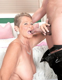 Brief haired nan Joanne Price performs gonzo sex acts with her toy boy