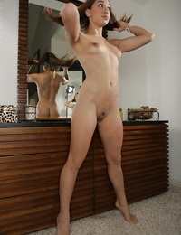 Harmless Asian stunner with little knockers Dana Vespoli takes off her cut-offs