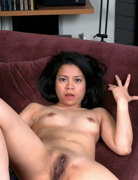 Dark-haired Asian honey Peggy cannot stop massaging her ultra-kinky sadism twat