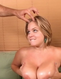 Chubby girl Ellie May holds her fat saggy boobs for a cum shot after pounding