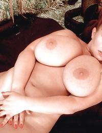 Chesty redheaded cowgirl with gun Virgin Brady revealing huge mature juggs