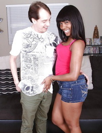 Cool handjob done by a devours clothed black chick