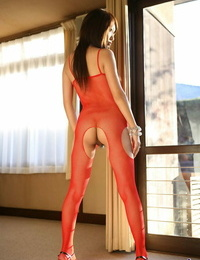 Scorching Japanese model Miho Sonoda gushes her bush in crotchless underwear