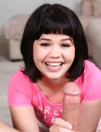Stable Asian teenager Yhivi sates a large pipe from a POV perspective