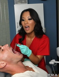 Sassy asian nurse with amazing tits gets screwed by a well-hung patient