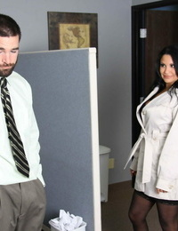 Brown-haired biz chick makes a masculine employee gobble out her beaver