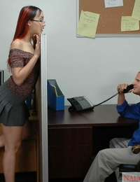 Asian female in glasses tempts her masculine coworker in the next cubicle