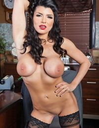 Dark-haired headmistress Romi Rain with inked back taunts cunt in office