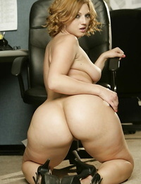 Lush Mummy with ample nut Ava Rose undressing in the office