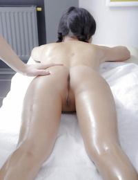 Petite Asian sweetie Miranda enjoys molten oil rubdown before before hook-up