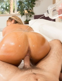 Big titted adult movie star Olivia Austin gets all oiled up for a hard-core sex gig